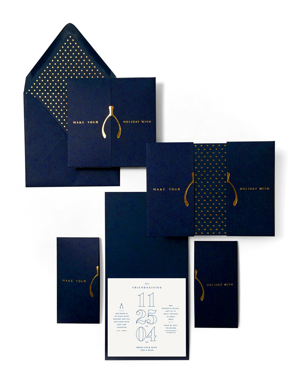 VACASA   Navy & Gold Wishbone Holiday Card Invitation