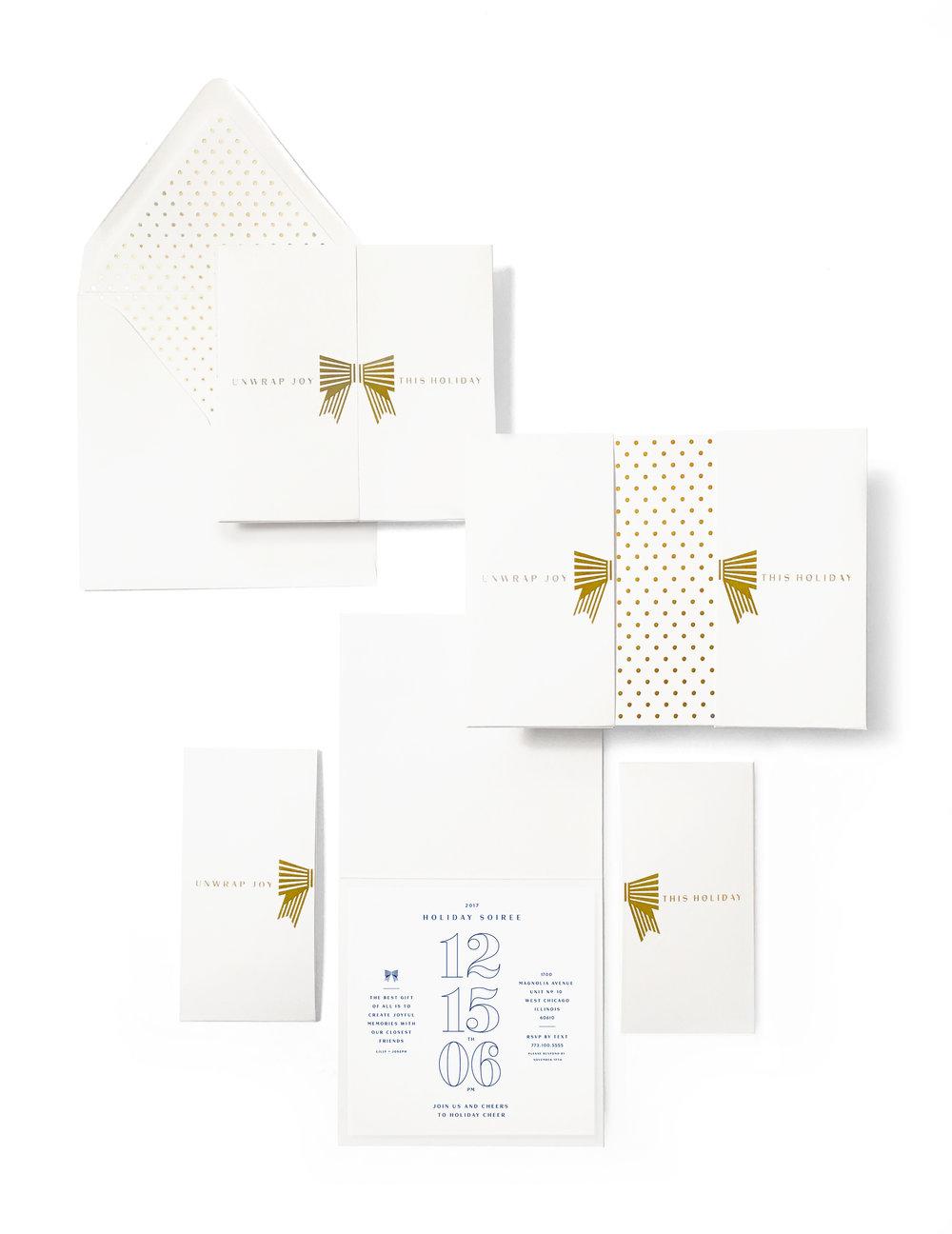 VACASA   White & Gold Bow Holiday Card Invitation