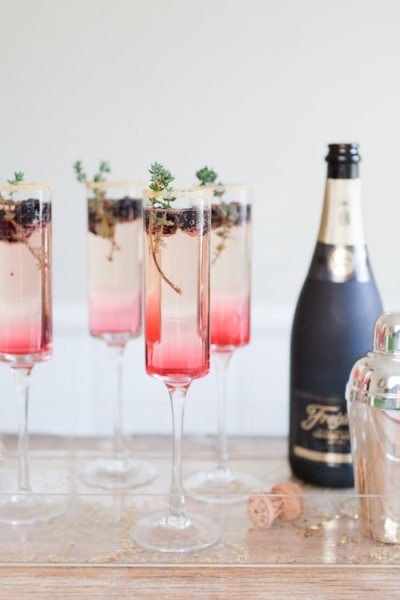 Champagne with Blackberries, Courtesy of Style Me Pretty