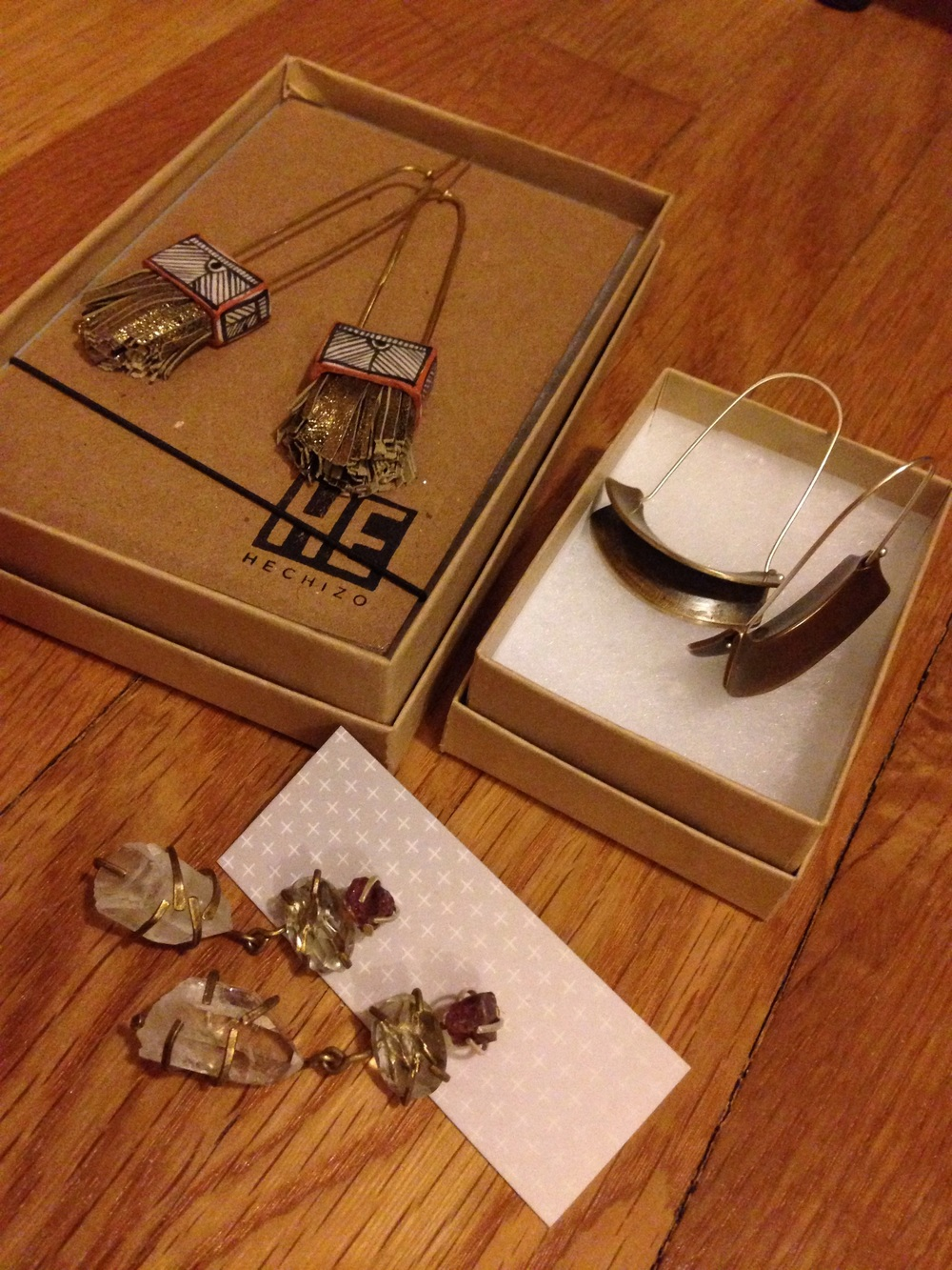 Goodies from (clockwise) Hechizo, Jessica Huber Jewelry and Harpy Jewelry