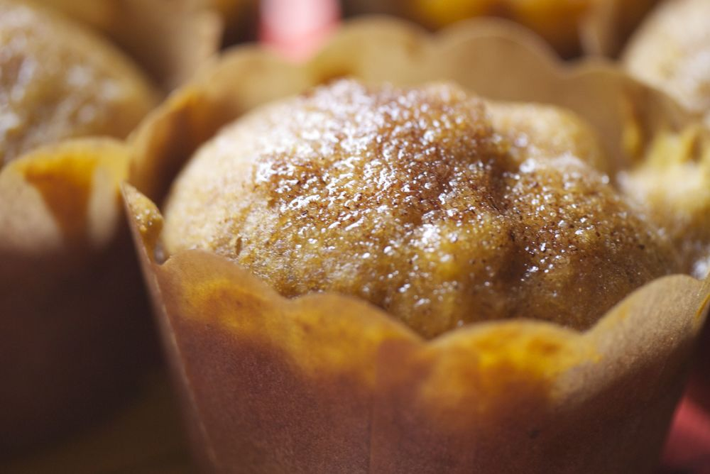 closeup pumpkin mini muffin