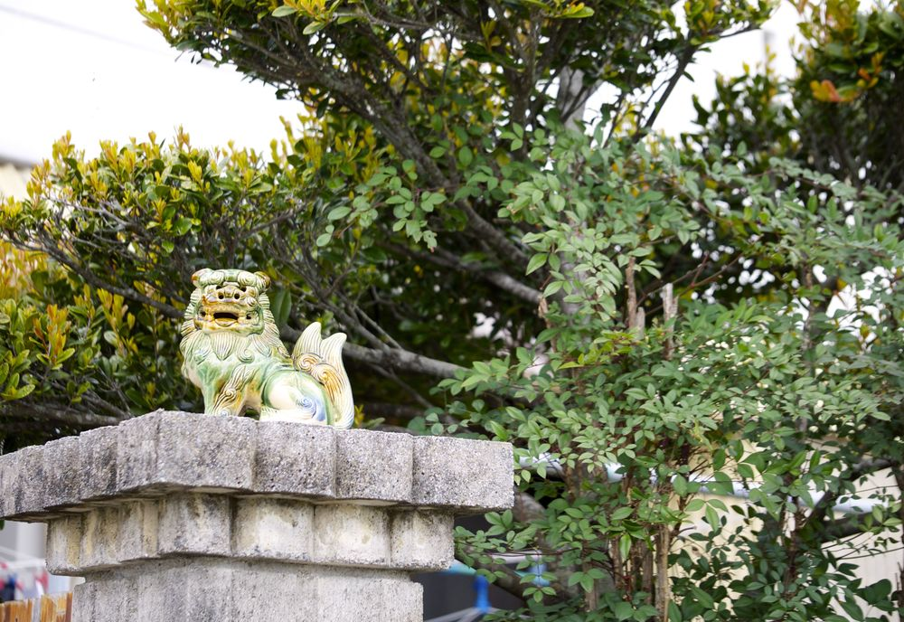 shisa dog in japanese garden