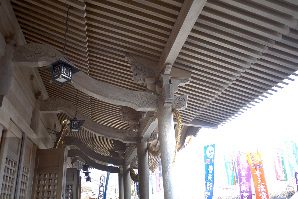 Wooden Japanese architecture in the awning of the shrine