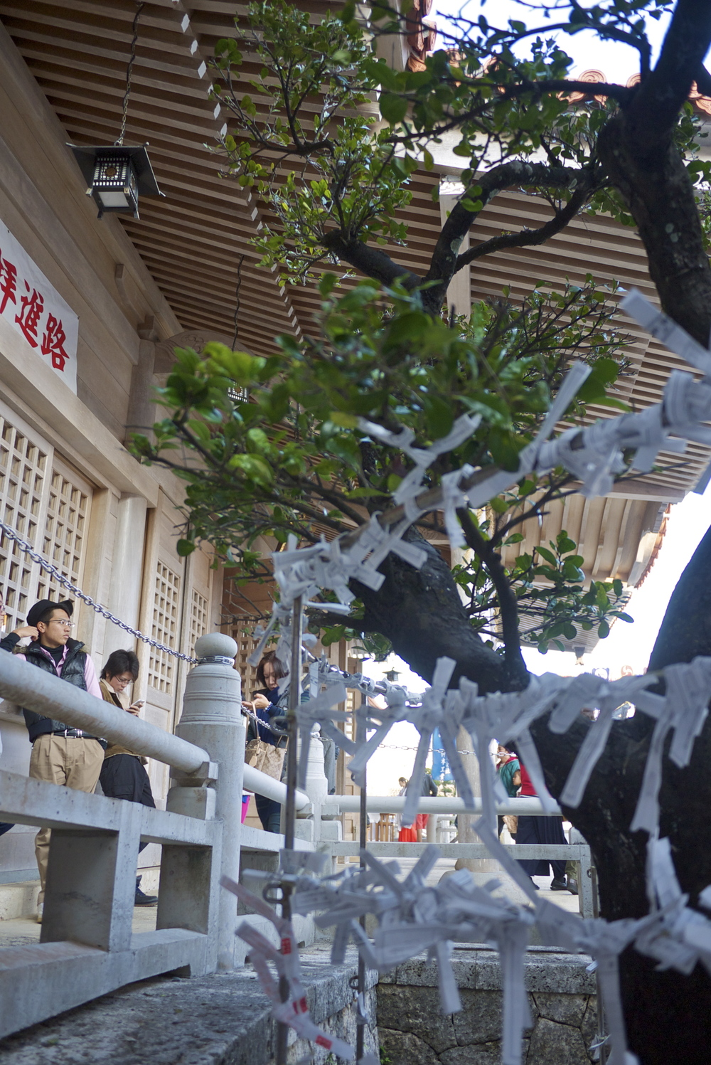 Omikuji fortunes tied to the fence at Futenma Shrine in Okinawa