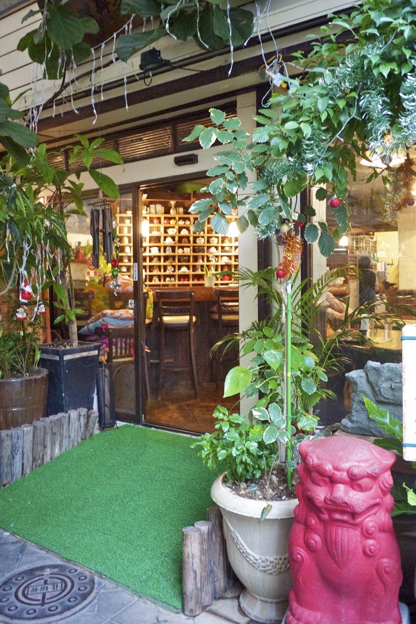 A little green streetscape outside a tea restaurant in Naha, Okinawa