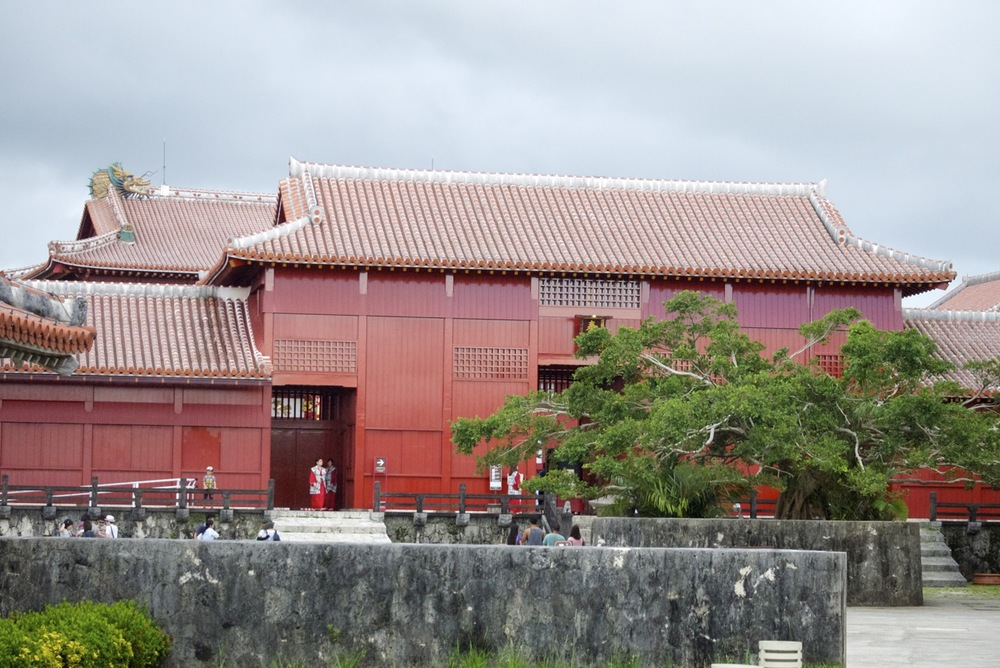 Red lacquer buildings of the Shuri Castle complex in Naha