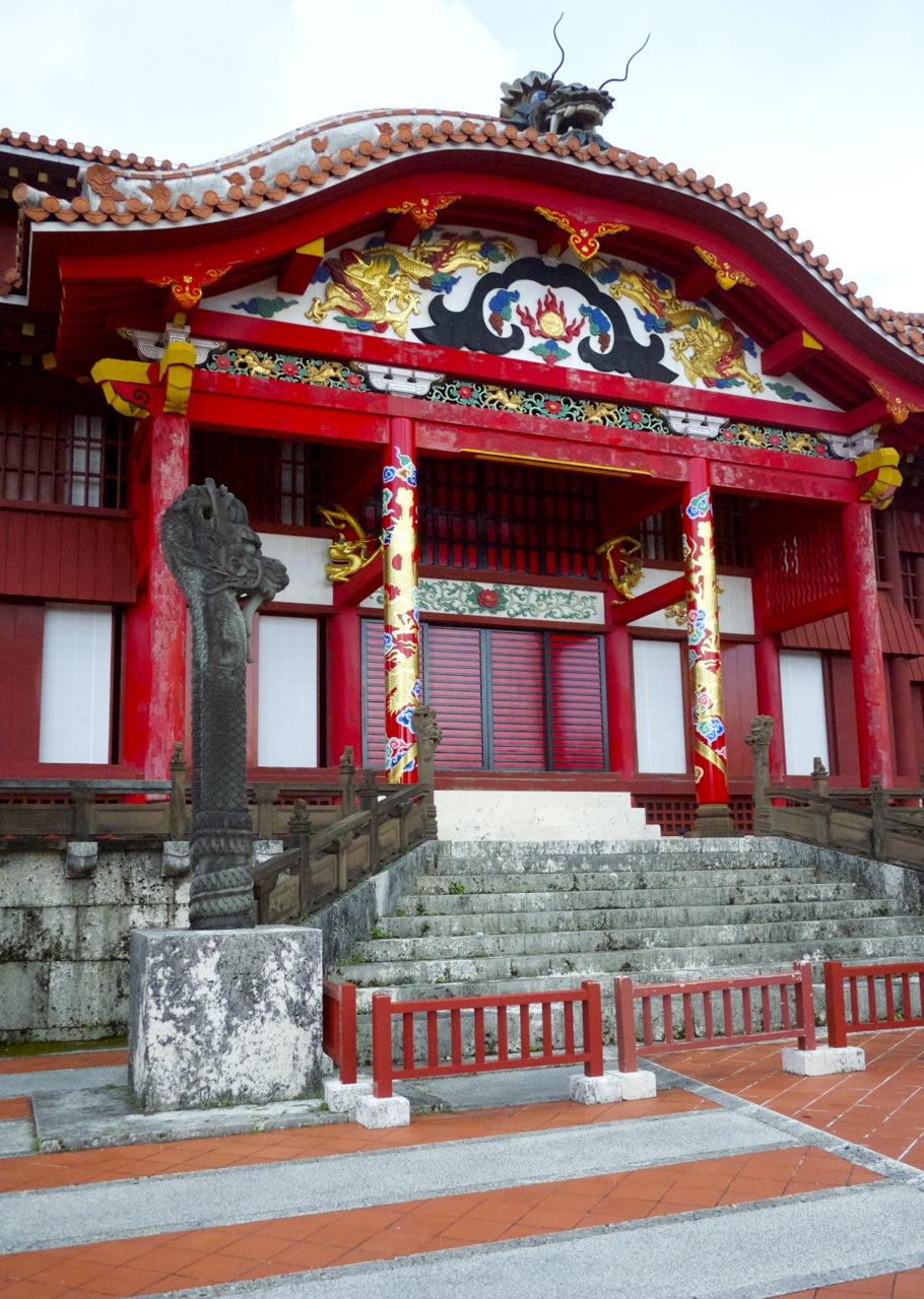 Detailed paintings on the Shuri Castle main building