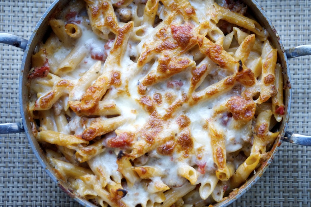 family-sized pot of baked ziti