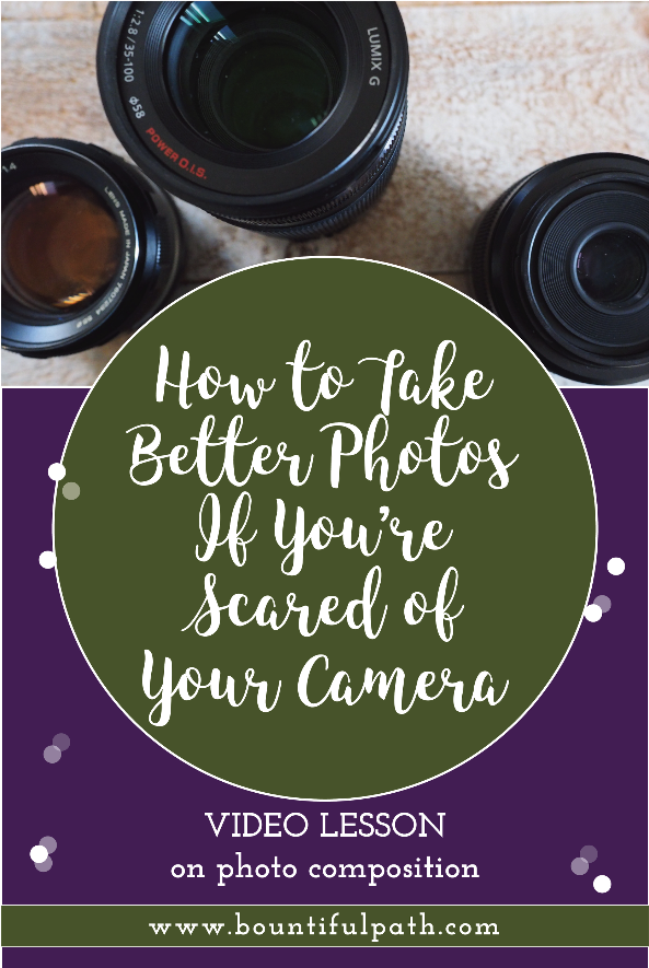 Scared to use your camera on manual mode but know that you need to take better photos? Instead of jumping into using a complicated camera and learning all the tech stuff, you need to learn how to actually compose a great picture first. This will make a much bigger difference in your photos than just picking up a new camera. Watch this video lesson at Bountiful Path to learn how to improve your images quickly with just a few compositional improvements.