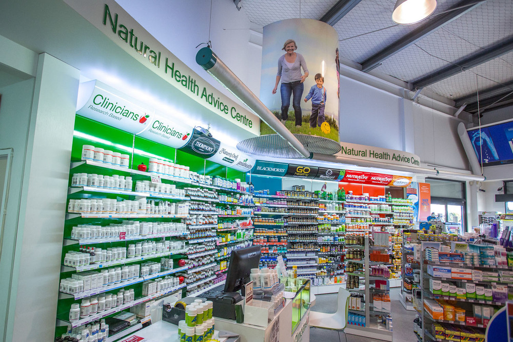 Westgate Pharmacy interior - Vitamin Wall