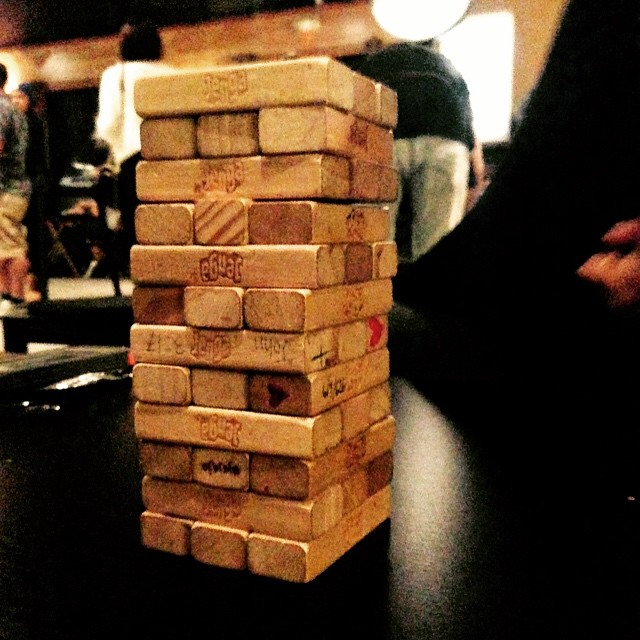 Getting a start on jenga at factory tea bar
