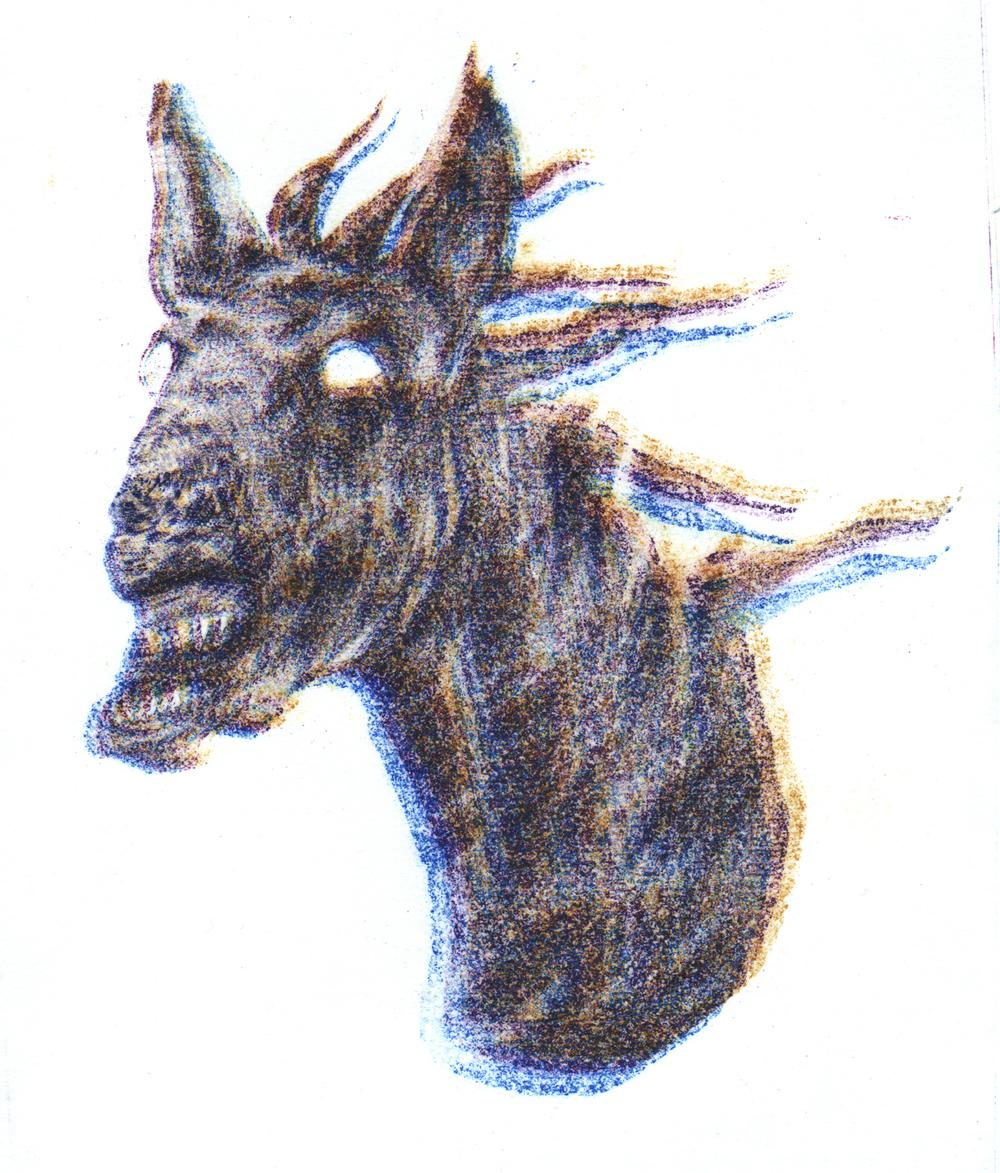 Musta hevosen pää (colour version)  2014  illustration for Hopeoitu vainaja ja muita sivuja Stepanin koodeksista (Kuoriaiskirjat, 2014)