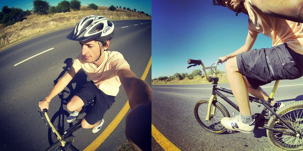 Dylan on a BMX training for the 109km Argus in South Africa 2014