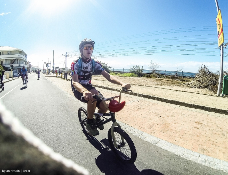 Me on a BMX doing the Cape Argus 109km cycle in 2014