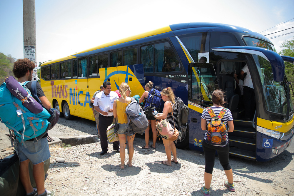 Image result for tourist in front of bus managua