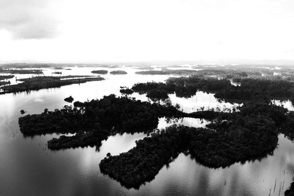 Black and white lake landscape, Laos