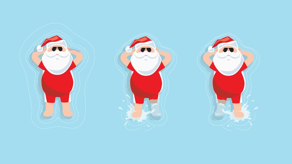 Santa Swimming - Aerial