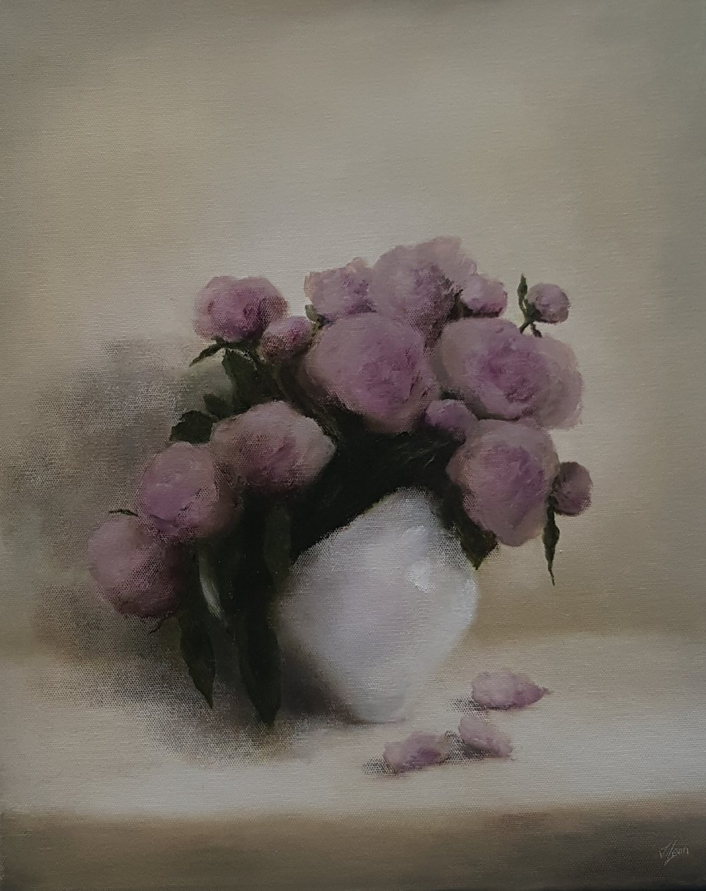 peonies in a white jug