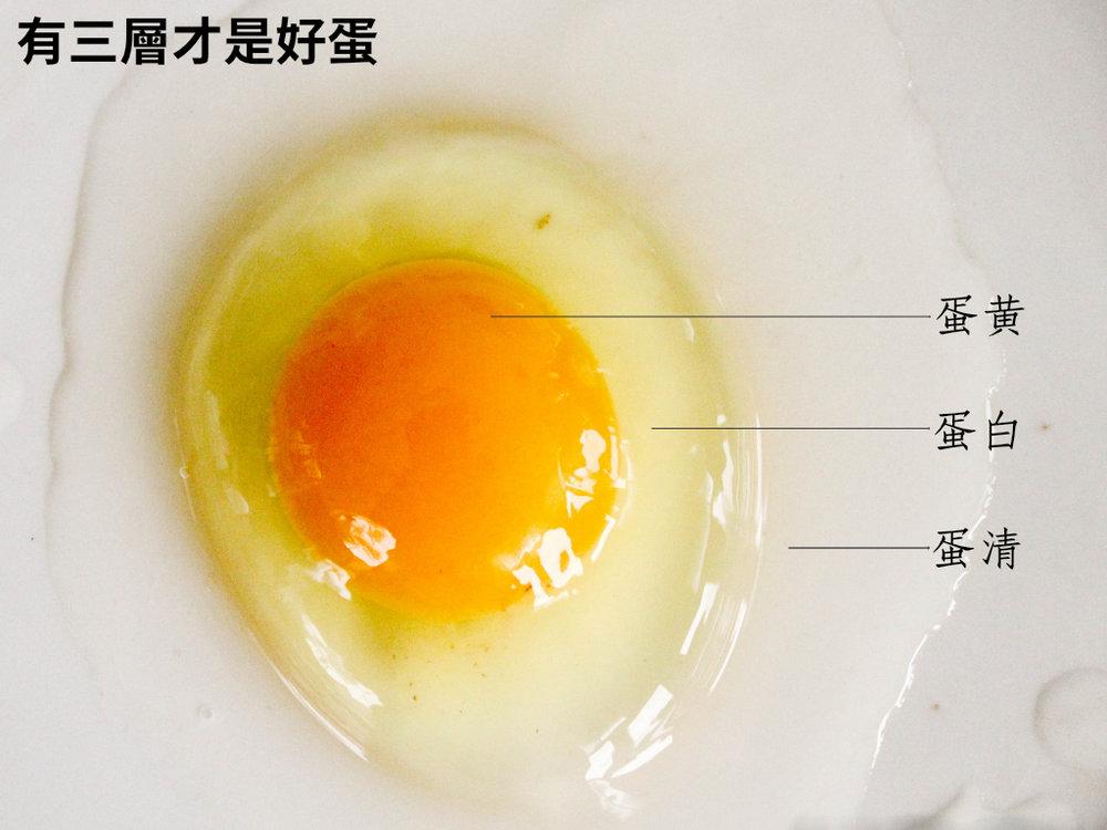 只要敲破,裡頭是這樣完美的三層:飽滿的蛋黃、挺立的蛋白、明確的蛋清,就是眼見為憑的好蛋。