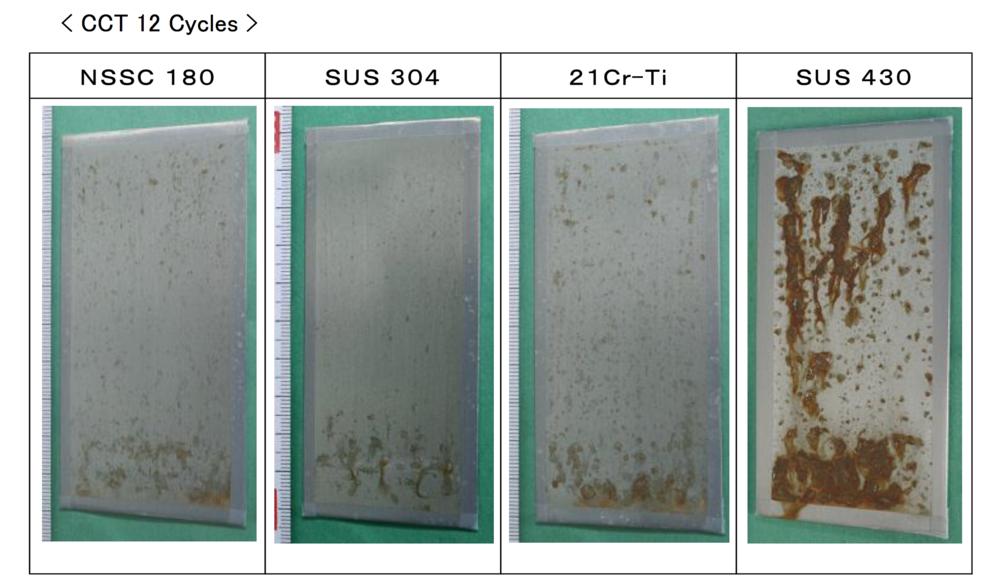 放置在海水中連續兩年的暴露測試,並且一個循環是35度c海水4小時->60度c乾燥2小時->50度c及濕度95%環境中2小時的嚴苛實驗。可得19-0不鏽鋼材質抗鏽強度遠高於SUS430,並可媲美SUS304(18-8)