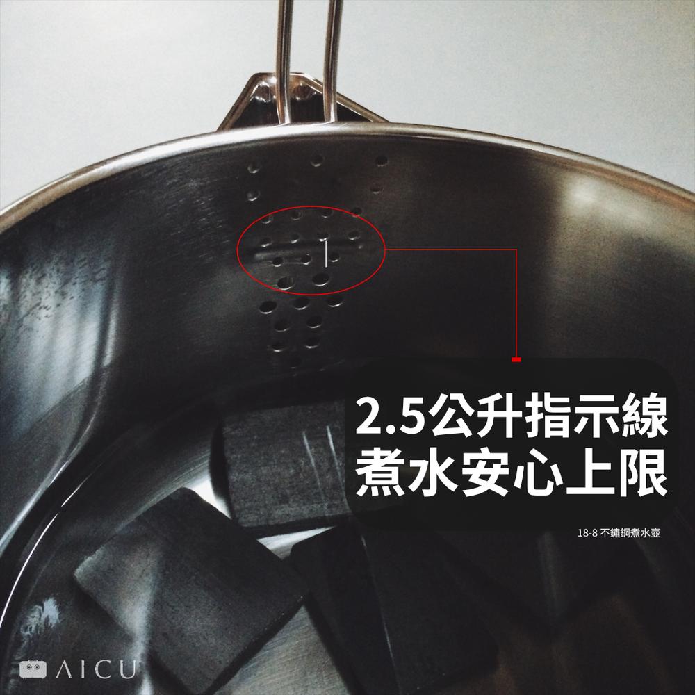 水壺內側均有指示線,若煮水請勿裝超過此線的水量,避免容易滾水噴濺。