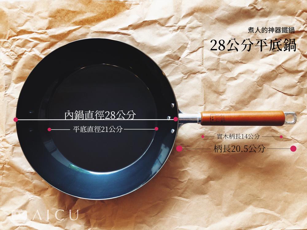 28公分平底鍋 - 平一點,煎的多一點。