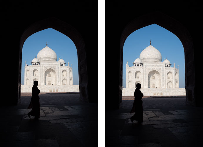 Left: original image. Right: perspective corrected image.