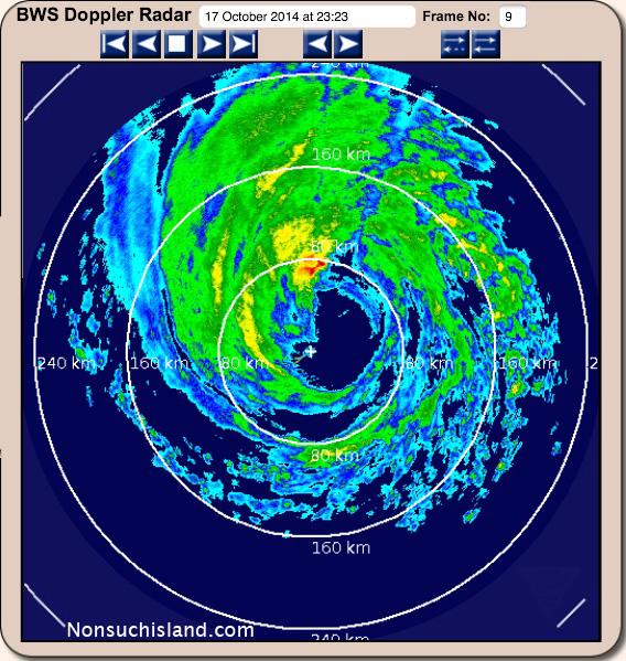 Eye of Hurricane Gonzalo passes over Bermuda