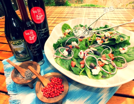 Spinach & Goat's Cheese Salad with Fig & Date Balsamic Vinegar. All v inegars, oils, salt and other gourmet products are available from Son Fe Gourmet: www.sonfetiendas.com