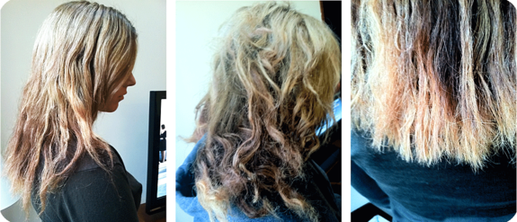 Damaged hair before a good cut, conditioning treatment and Dreamcatchers Hair Extensions
