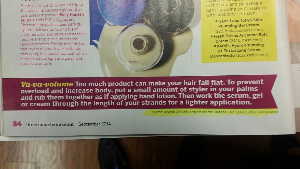 Our Balance Hair Spa stylist Keyana Cellucci is featured in the September 2014 issue of Fitness Magazine.