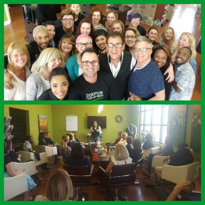 Geno Stampora motivates and inspires the Balance Hair Spa team
