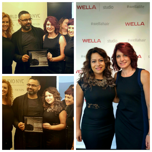 JEN & DARLENE ACCEPTING THEIR AWARD AND CERTIFICATION AT THE WELLA WORLD STUDIO NYC OCTOBER 8TH 2015