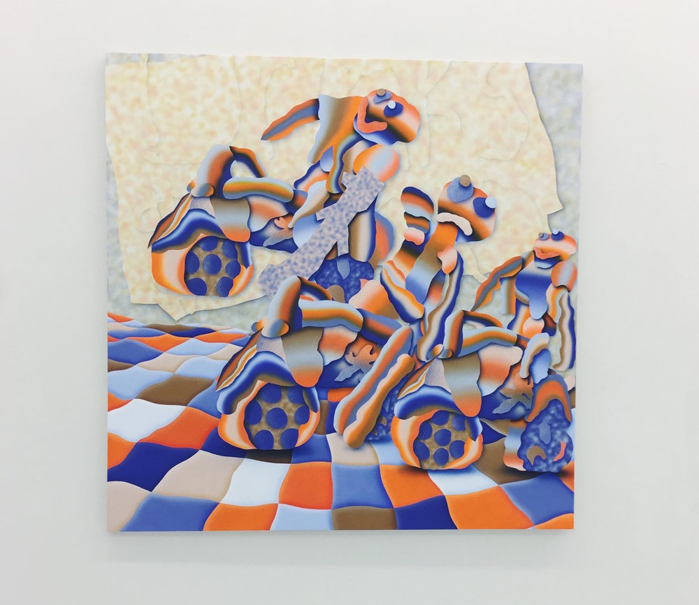 "Morgan Blair, ""ExistentialRoundUP. Gov Top Weekly, Clicks: What Type of Motocross-Themed French Onion Chili Cheese Log Do You Need in Your Life"", 2017, acrylic and sand on canvas over panel, 60 x 60 inches, 152.5 x 152.5 cm"