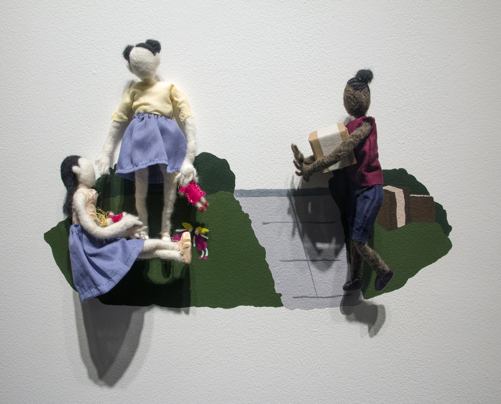 I Unpacked While They Played With Their Dolls  | wool, clay, cotton, wire, acrylic paint | 21 x 13 x 4 inches | 2016