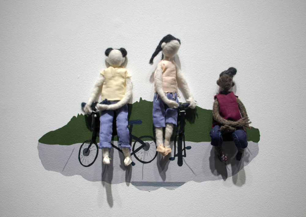 I Sat Still While They Rode Their Bikes  | wool, clay I, cotton, wire, acrylic paint | 19 x 12 x 3 inches | 2016