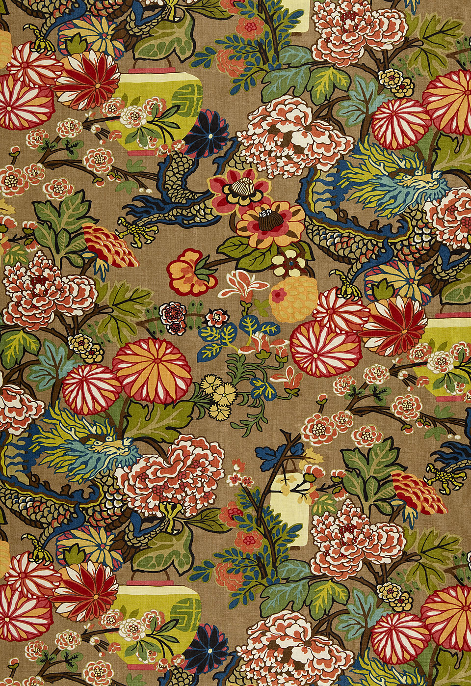 Inspirational Fabric - the Fabric that continues to inspire drapery, ottomans, bedding, wall-covering, pillows - We love Schumacher's Chiang Mai Dragon
