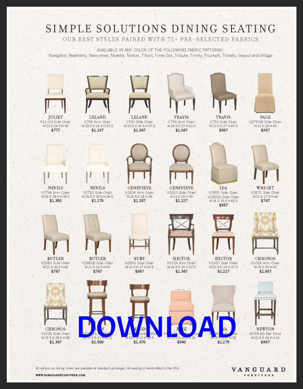 "Vanguard's ""Simple Solutions"" Dining Chair Program"