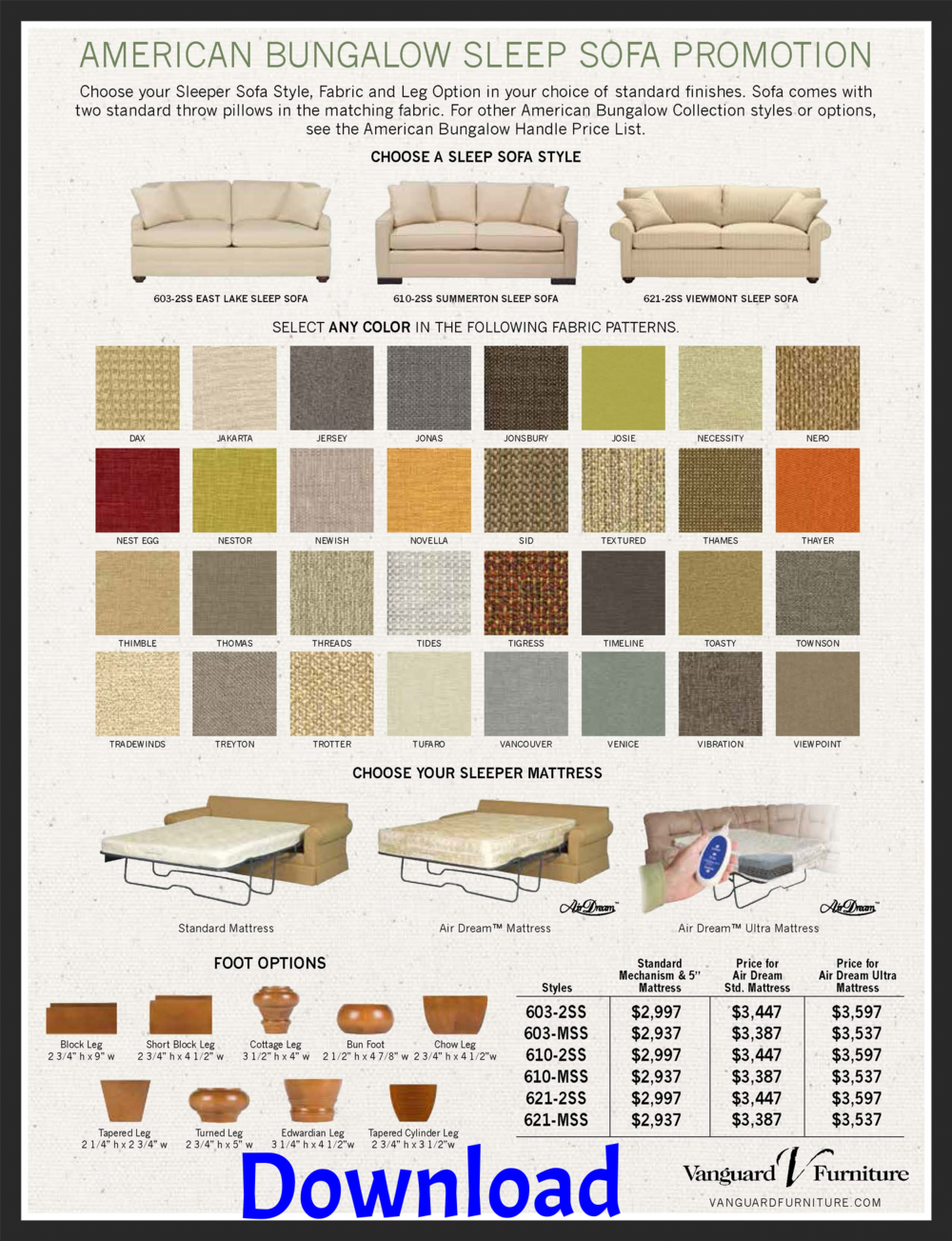 Vanguard's American Bungalow Sleep Sofa Program
