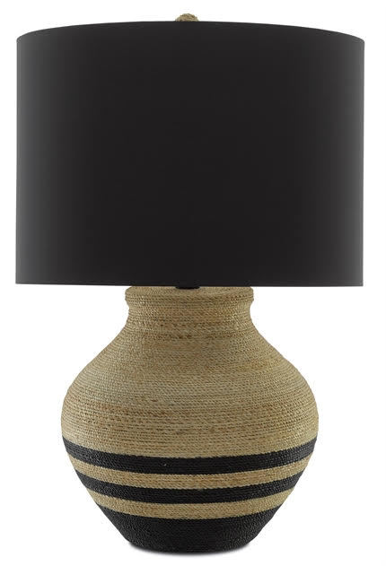 Higel Table Lamp - The Higel Table Lamp has an olive-jar shape, clad in Abaca rope and a rope-wrapped finial holds the black silk shade in place.