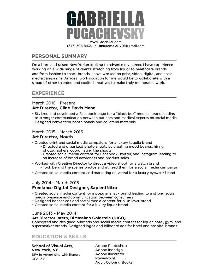 Resume — Gabriella Pugachevsky
