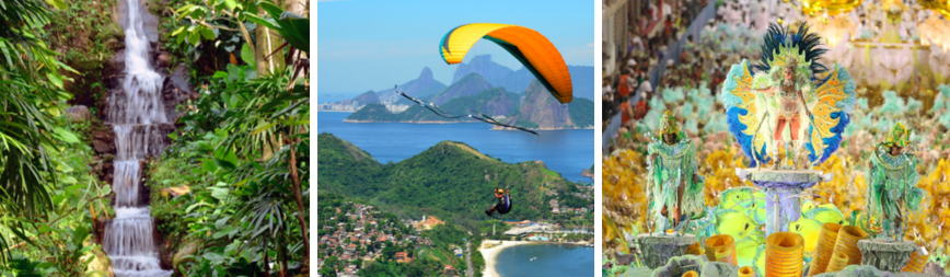 3 Images from Rio, Brazil – a waterfall, a man paragliding, and a women onto of a float at carnival