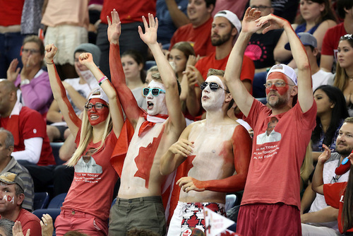 Cheering crowd dressed in Canadian outfits at men's wheel chair basketball Para Pan Am game