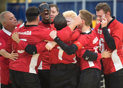Canadian Men's Goal Ball team celebrating at 2015 Para Pan Ams