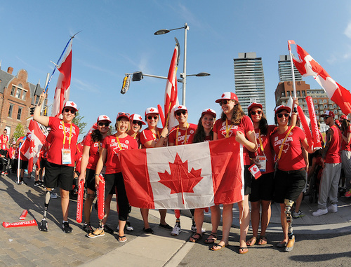 2015 Para Pan Am athletes with Canadian Flag