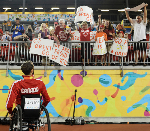 2015 Para Pan Am athlete receiving congratulations from adoring Canadian fans
