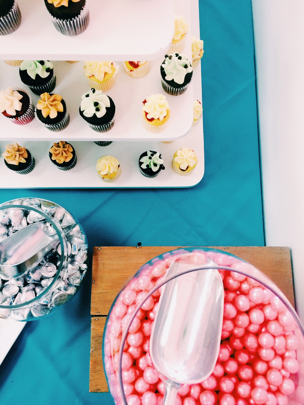 Mini cupcakes, Candy, and Kisses, oh my!