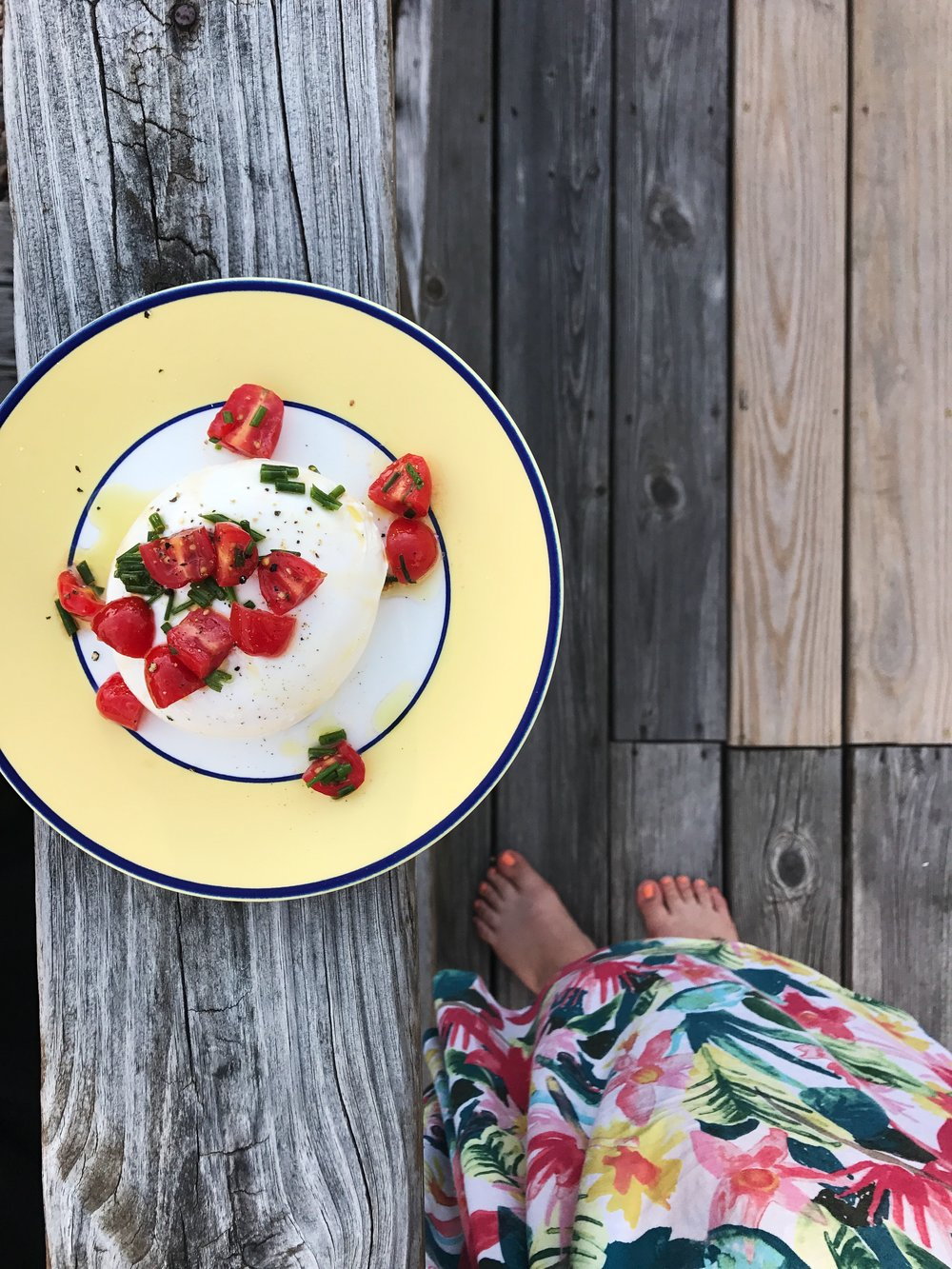 Burrata from  The Cheese Shoppe  on LBI with Extra Virgin Olive Oil, tomatoes and chives.
