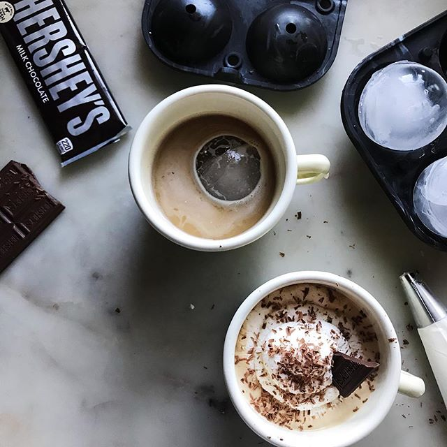 Ice, ice, latte... 🍫 @lacolombecoffee, fresh whip, @hersheys shavings and these epic sphere ice molds by @wandpdesign.  The rest of summer is going to be a literal ball. #ElevateYourIce