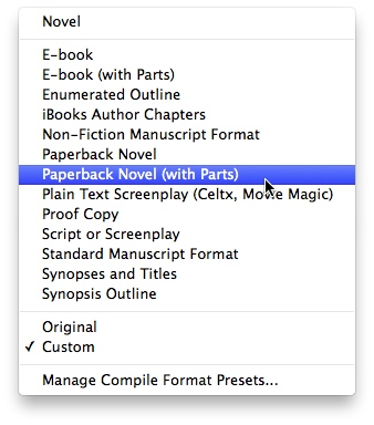 "Here are the outputs for the Novel template. You can also customize the output to your liking, or print ""As-Is"" for standard WYSIWYG formatting."